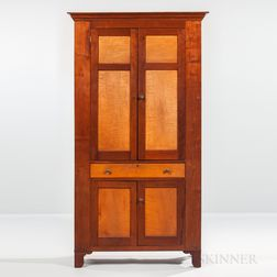 Tiger Maple and Cherry Paneled Cupboard