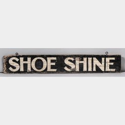 "Painted Wood ""Shoe Shine"" Sign"