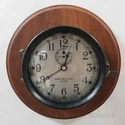 Mounted Seth Thomas Mark I Deck Clock