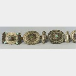 Southwest Man's Silver and Turquoise Concha Belt