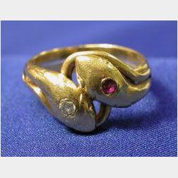 18kt Gold and Gem-set Snake Bypass Ring