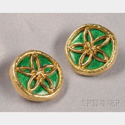 18kt Gold and Enamel Earclips, Schlumberger, Tiffany & Co.