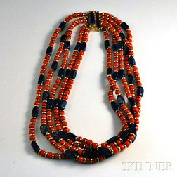 Five-strand Coral and Lapis Necklace