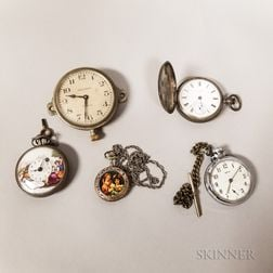 Four Watches and a Waltham Eight-day Clock