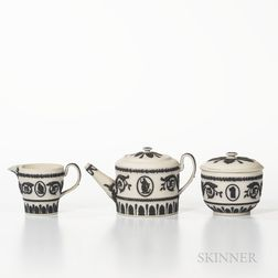Three-piece Wedgwood Solid White Jasper Tea Set