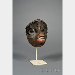 Painted Metal, Cotton, and Velvet Articulated Monkey Mask