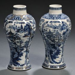 Pair of Export Nanking-style Blue and White Meiping Vases