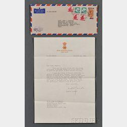 Gandhi, Indira (1917-1984) Typed Letter Signed, 25 December 1968.
