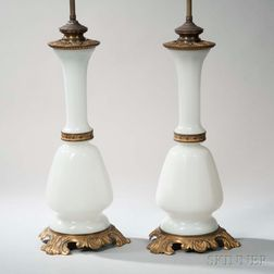 Pair of Gilt-bronze-mounted Opaline Glass Lamp Bases