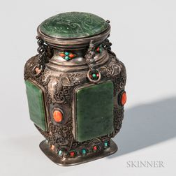 Silver Repousse Covered Vessel