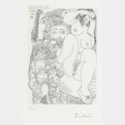 Pablo Picasso (Spanish, 1881-1973)      Jeune courtisane avec un gentilhomme, un sculpteur et un vieillard alléché