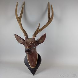 Carved and Painted Wood and Horn Hanging Buck Trophy
