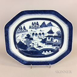 Large Canton Export Porcelain Platter