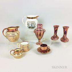 Nine Pieces of Pink Lustre Ceramic Tableware
