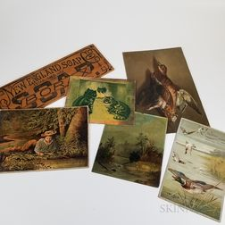Six Chromolithographed and Painted Items
