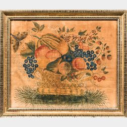 Watercolor Basket of Fruit and Butterfly Theorem on Velvet