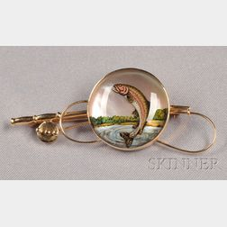 14kt Gold and Reverse-painted Crystal Fishing Brooch, Raymond Yard