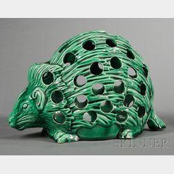 Wedgwood Majolica Green Glazed Hedgehog Crocus Pot