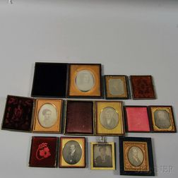 Eight Daguerreotypes of Painted Portraits