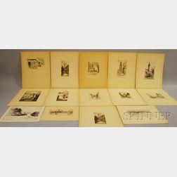 George Taylor Plowman (American, 1869-1932)      Fourteen Unframed Etchings: Buildings