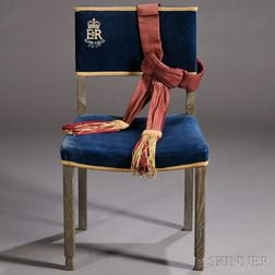 Replica Peers Chair from Queen Elizabeth II's Coronation and Guard's Sash