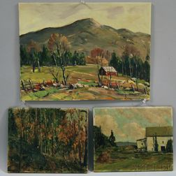 John F. Enser (American, 1898-1968)      Three Landscapes: Mountain Pasture, Autumn Fantasy