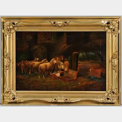 F. Waldenberg (German/American, 19th Century)    Art in the Stable, After Otto Gebler