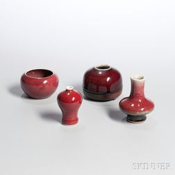 Four Small and Miniature Flambe-glazed Items