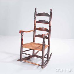 Maple and Ash Slat-back Armed Rocking Chair