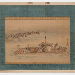 Hanging Scroll Depicting a Ferry on a River