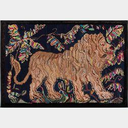 Lion Hooked Rug