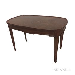 "Mahogany and ""Plum Pudding"" Mahogany-veneered Low Oval Table"
