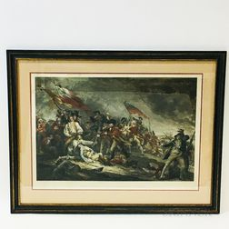 Framed A.C. de Poggi Hand-colored Lithograph After John Trumbull's The Battle of Bunker's Hill