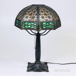 Bradley & Hubbard Silvered Metal and Overlay Slag Glass Table Lamp
