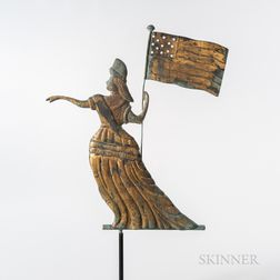Rare Gilt and Molded Sheet Copper Goddess of Liberty Weathervane