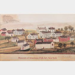 """Poster of a Labeled Drawing of """"Shaker Village, Alfred, Maine,"""""""