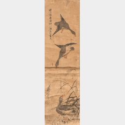 Noando   Hanging Scroll Depicting Three Geese and Reeds