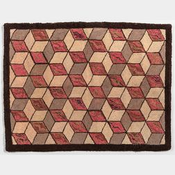 Hooked Rug with Repeating Diamond Design