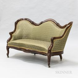 Rococo Revival Upholstered Rosewood Sofa