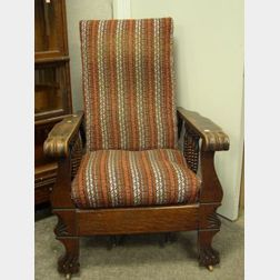 Late Victorian Carved Oak and Spindle-sided Adjustable-back Morris Chair.