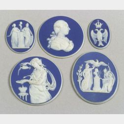 Five Wedgwood Dark Blue Jasper Dip Medallions