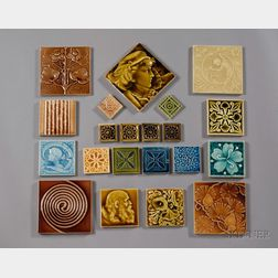 Sixty-four Decorated Tiles: Various Makers