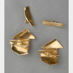 Artist-Designed 18kt Gold Earclips, Alicia Penalba