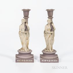 Two Wedgwood Lilac and White Jasper Candlesticks