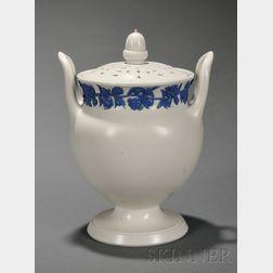 Wedgwood Smear Glazed White Stoneware Potpourri Vase and Cover