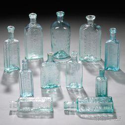 Eleven Aqua Blown-molded Glass Medicine/Druggist Bottles