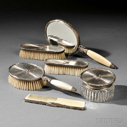 Six-piece Italian Sterling Silver Vanity Set