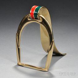 Enameled Brass Stirrup-form Picture Frame