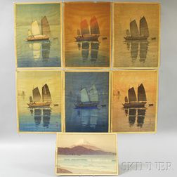 Seven Shin Hanga   Woodblock Prints