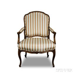 Louis XV-style Carved and Upholstered Fruitwood Fauteuil